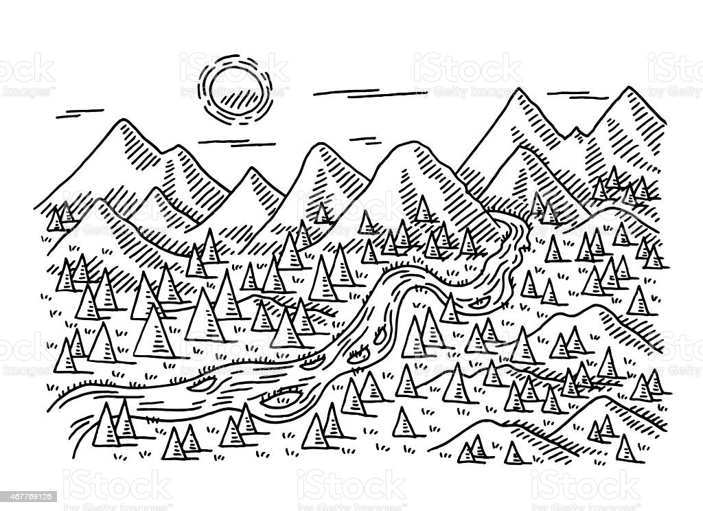 Idyllic landscape trees river mountains drawing stock for Accouchement difficile a la maison