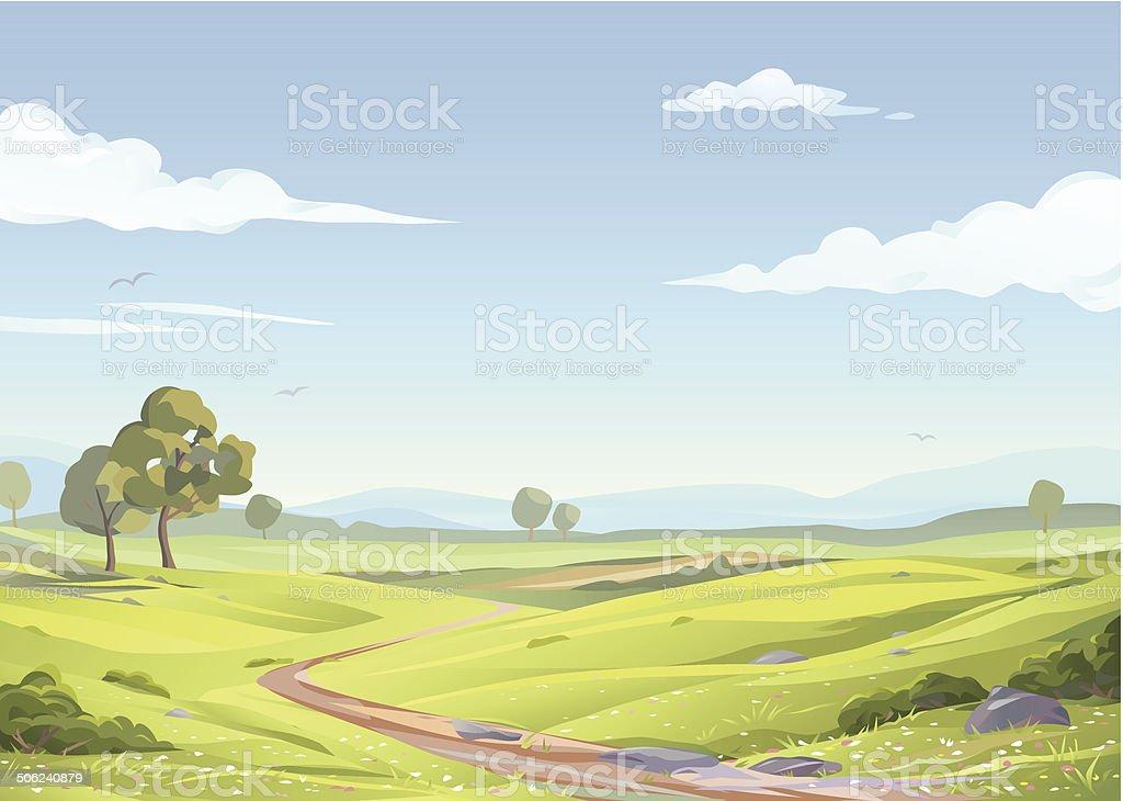 Idyllic Landscape vector art illustration