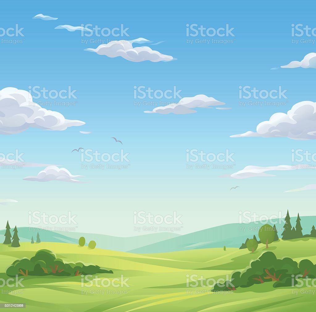 Idyllic Landscape vector art illustration