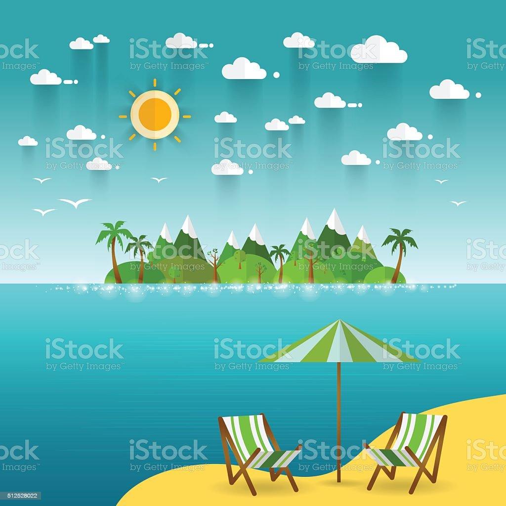 Idyllic paradise coast landscape with mountains. Summer camp vacation concept vector art illustration