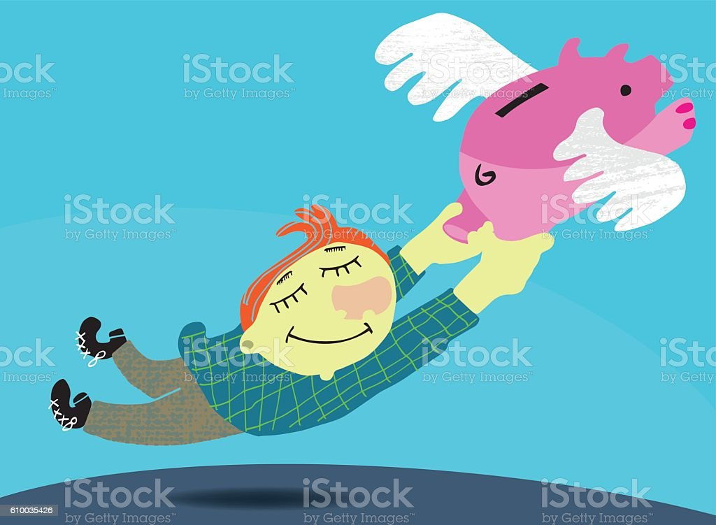 If pigs could fly vector art illustration