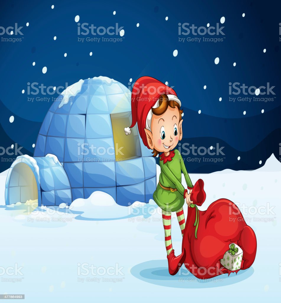 Igloo and a boy royalty-free stock vector art