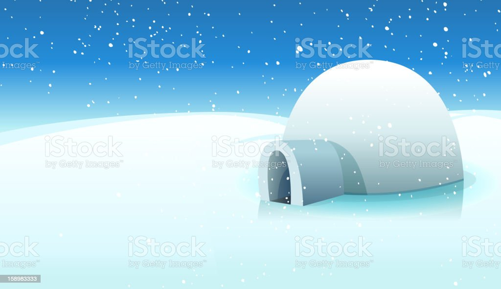 Igloo And Polar Icy Background vector art illustration
