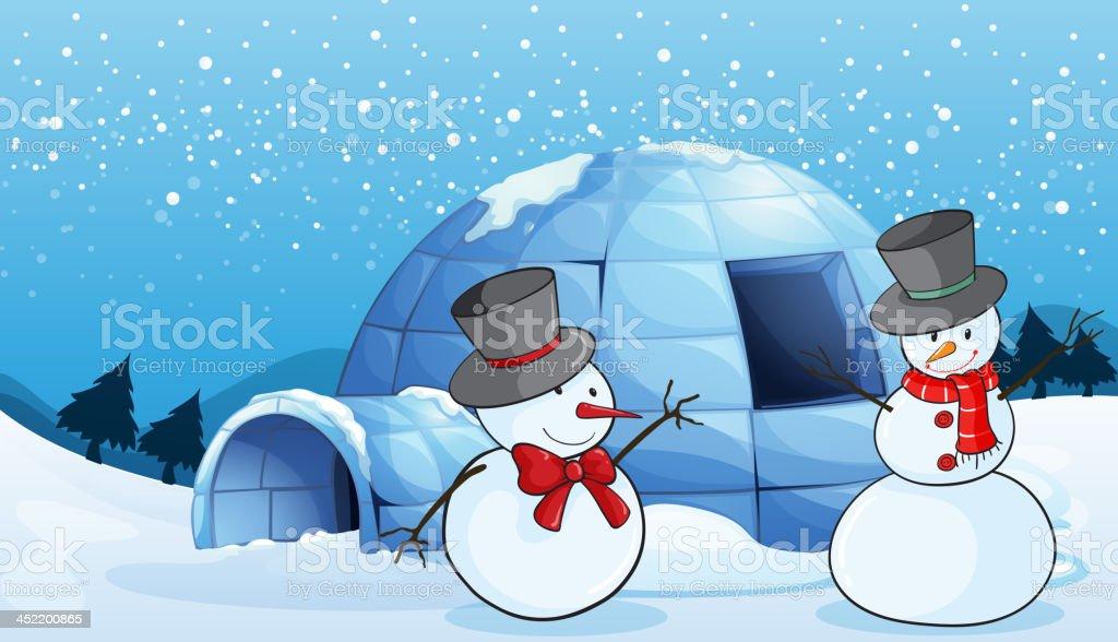 igloo and snowmen royalty-free stock vector art
