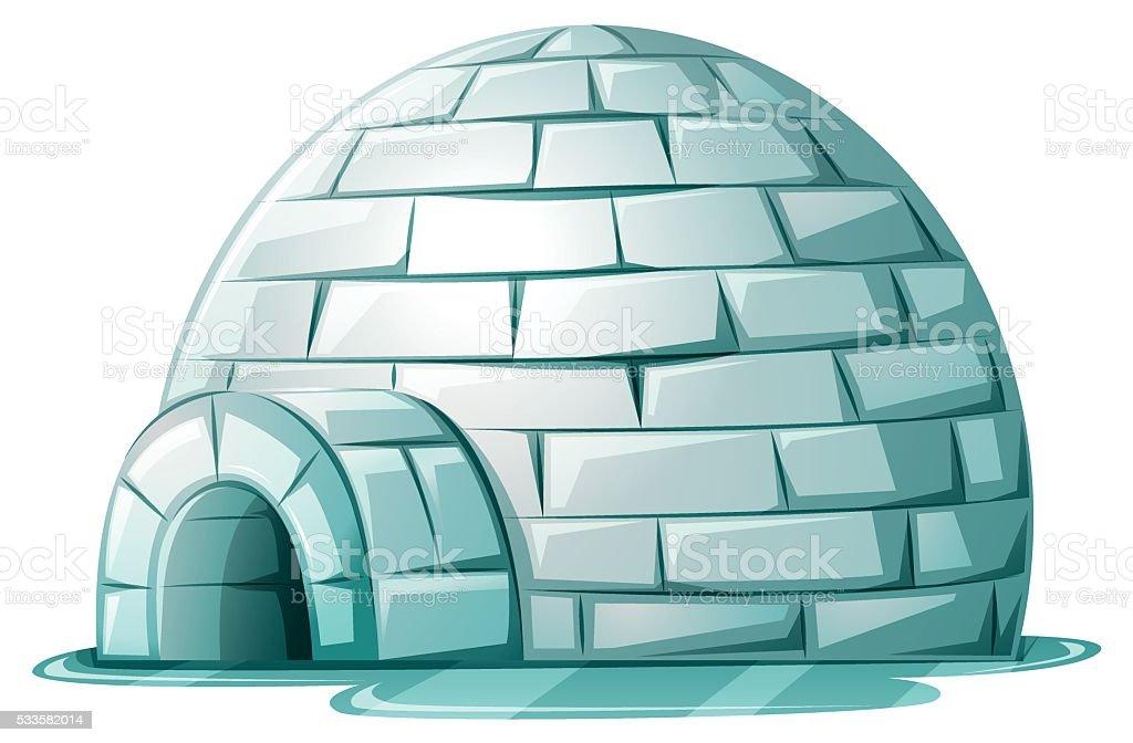 Igloo on icy ground vector art illustration