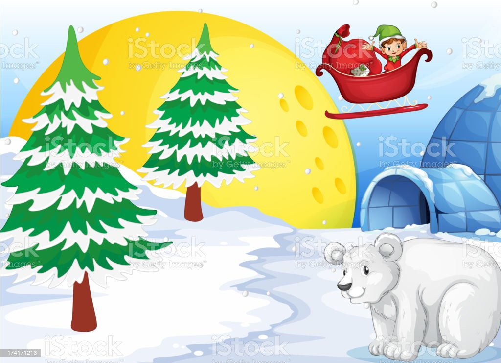 Igloo, polar bear and moon royalty-free stock vector art