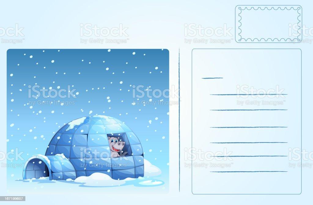 Igloo postcard vector art illustration
