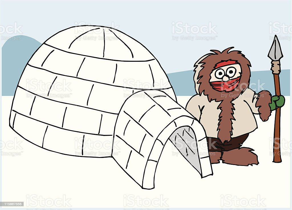 Igloo with Eskimo royalty-free stock vector art
