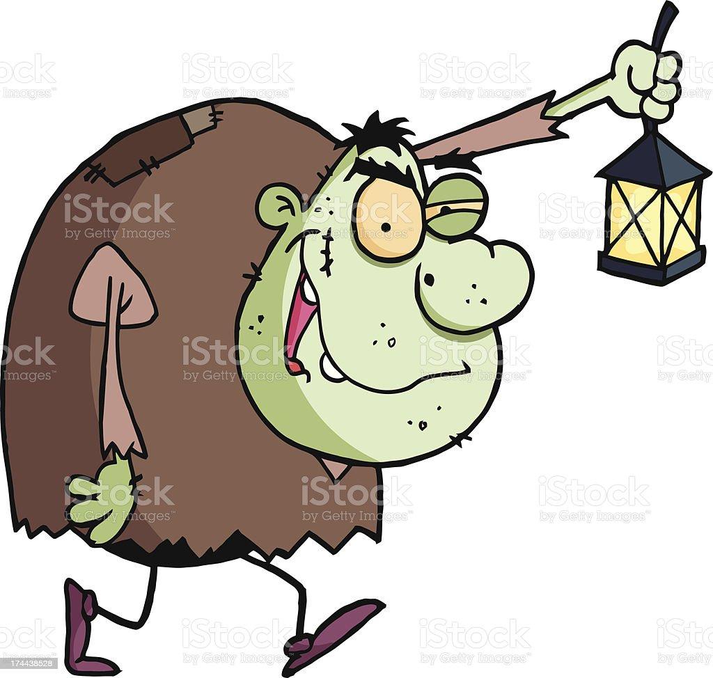 Igor Holding Up A Lantern vector art illustration