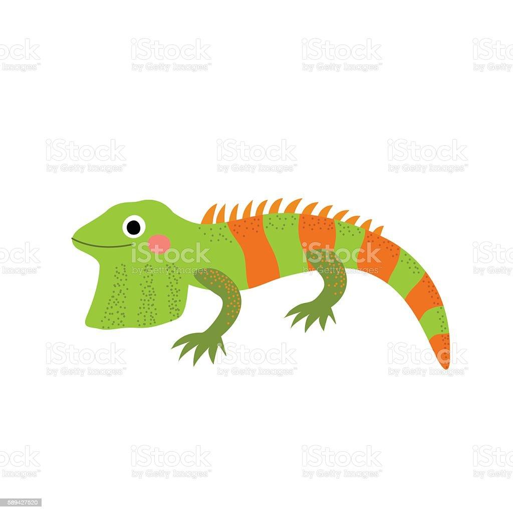 Iguana animal cartoon character vector illustration. vector art illustration