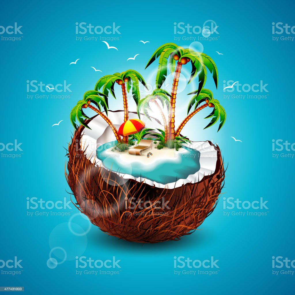 Iillustration on a summer Holiday theme with coconut. royalty-free stock vector art