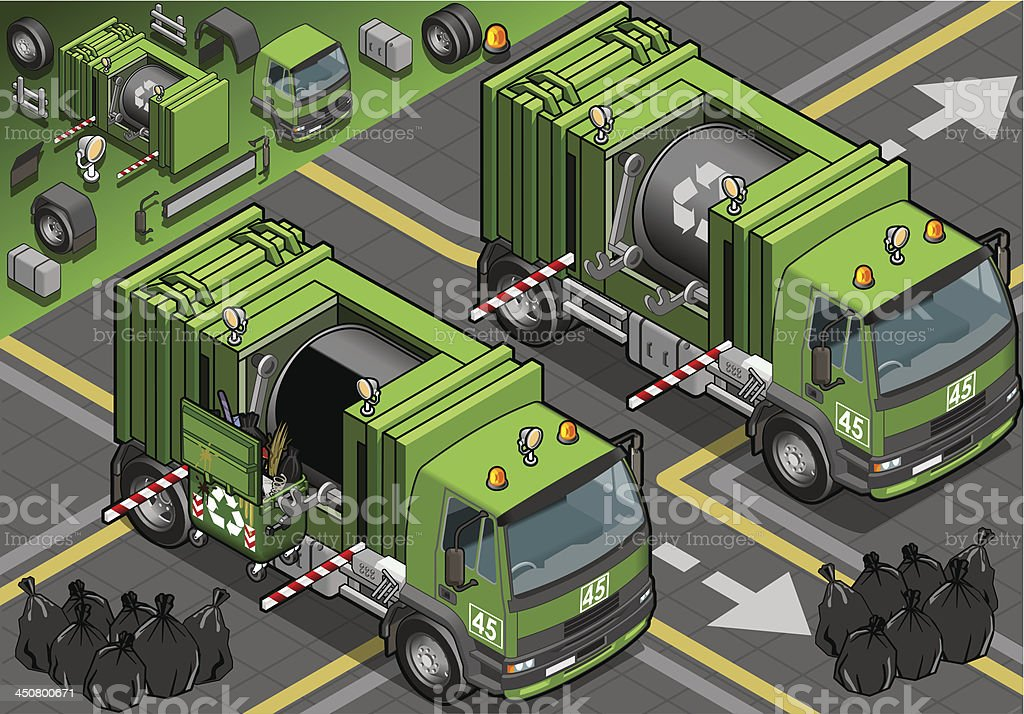 Iisometric Garbage Truck in Front View royalty-free stock vector art