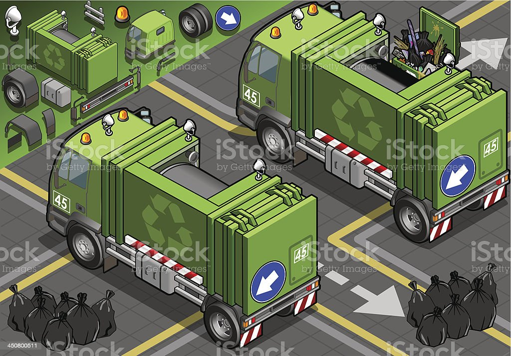 Iisometric Garbage Truck in Rear View royalty-free stock vector art