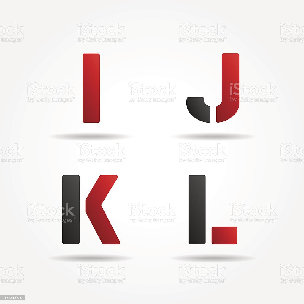 ijkl red stencil letters royalty-free stock vector art