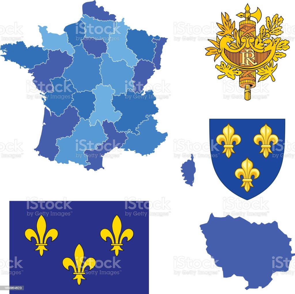Ile de france region set royalty-free stock vector art