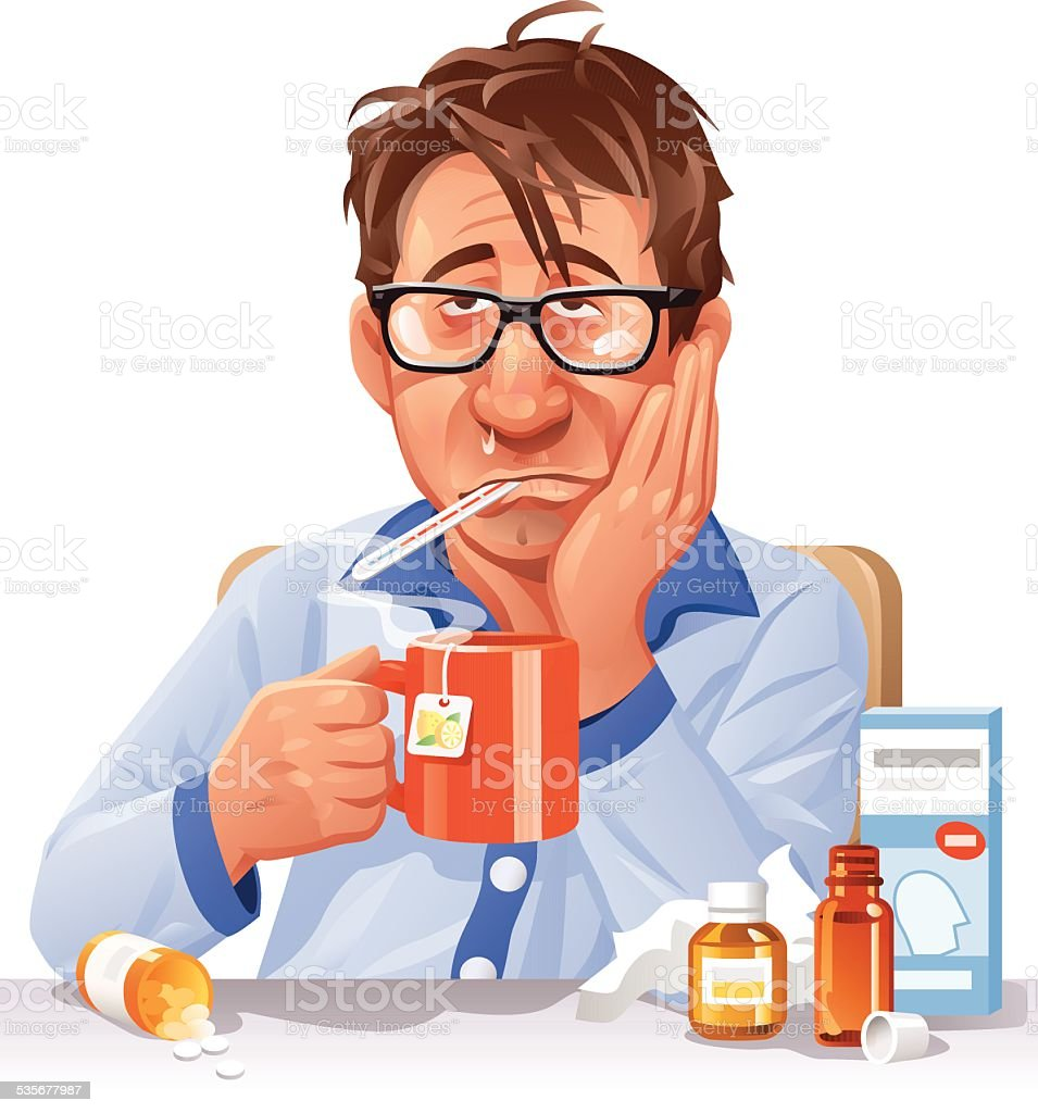 Ill Man Drinking Tea vector art illustration