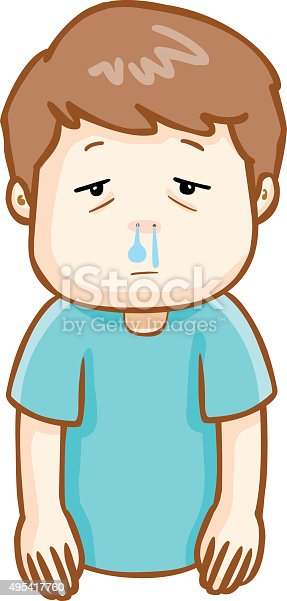 Ill Man Runny Nose Cartoon Vector stock vector art 495417760 | iStock