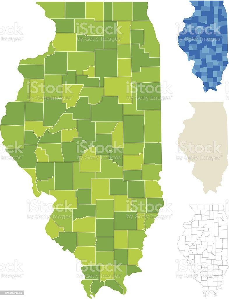 Illinois County Map royalty-free stock vector art