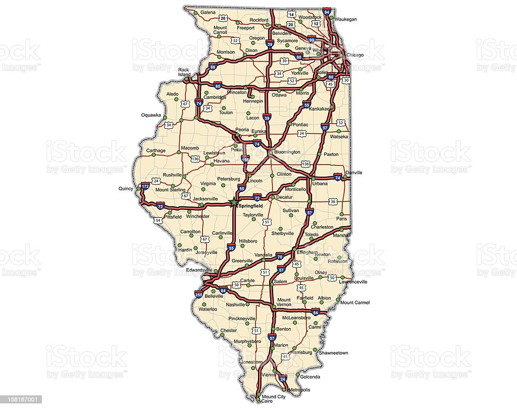Illinois Highway Map (vector) vector art illustration