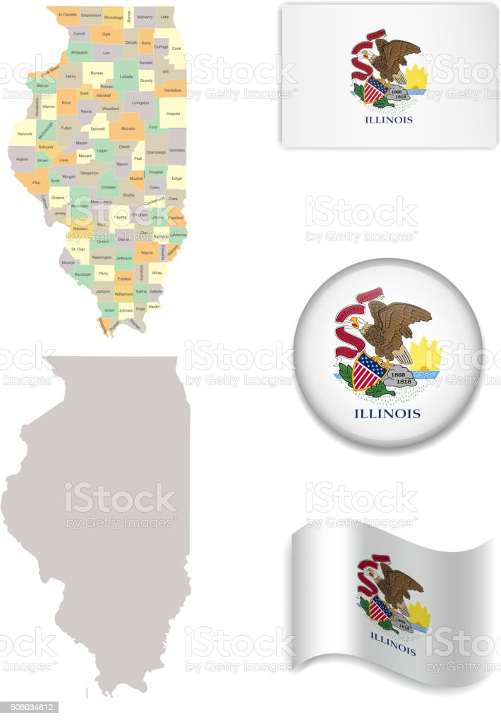 Illinois Map and Flag Collection vector art illustration