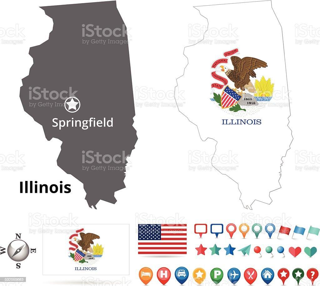 Illinois Map Kit vector art illustration