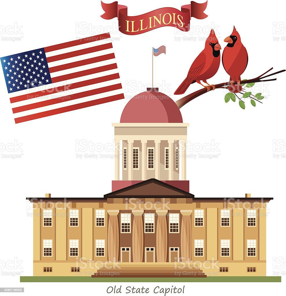 Illinois State Capitol vector art illustration