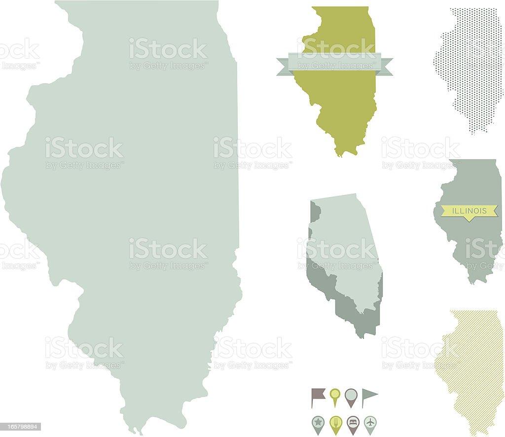 Illinois State Maps vector art illustration