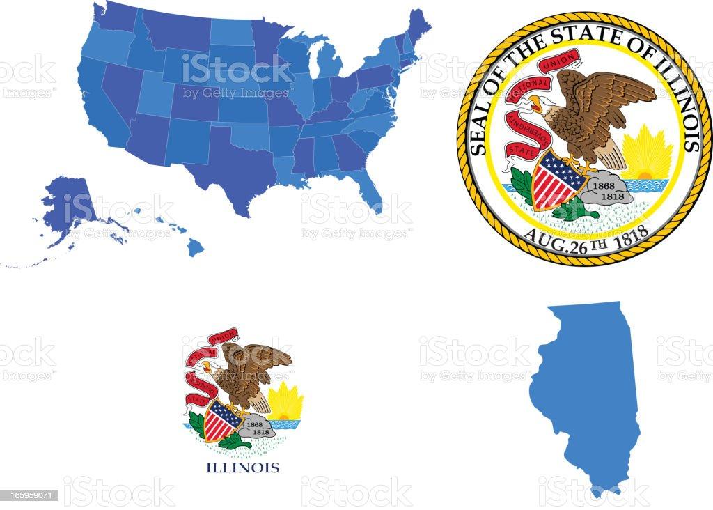 Illinois state set vector art illustration