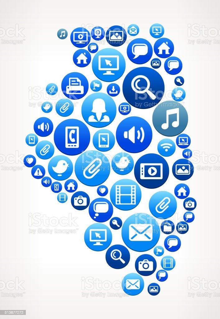 Illinois Technology Internet and Media Blue Button Pattern vector art illustration
