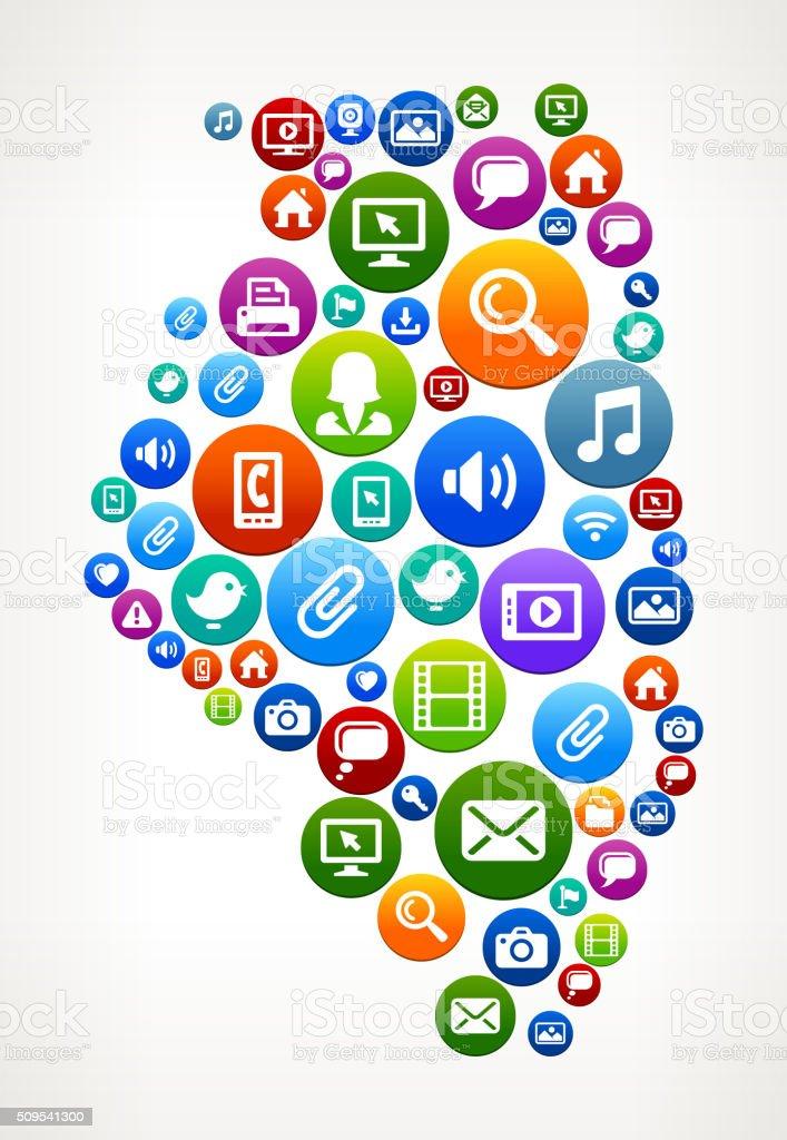Illinois Technology Internet and Web Media Icon Pattern vector art illustration