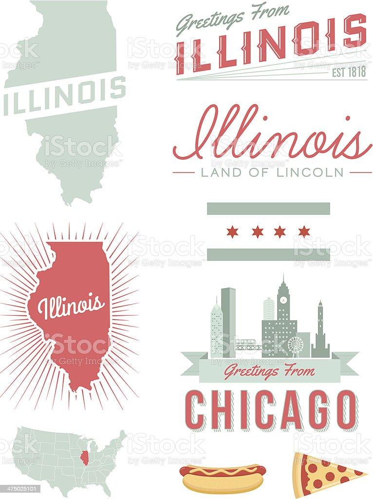 Illinois Typography vector art illustration