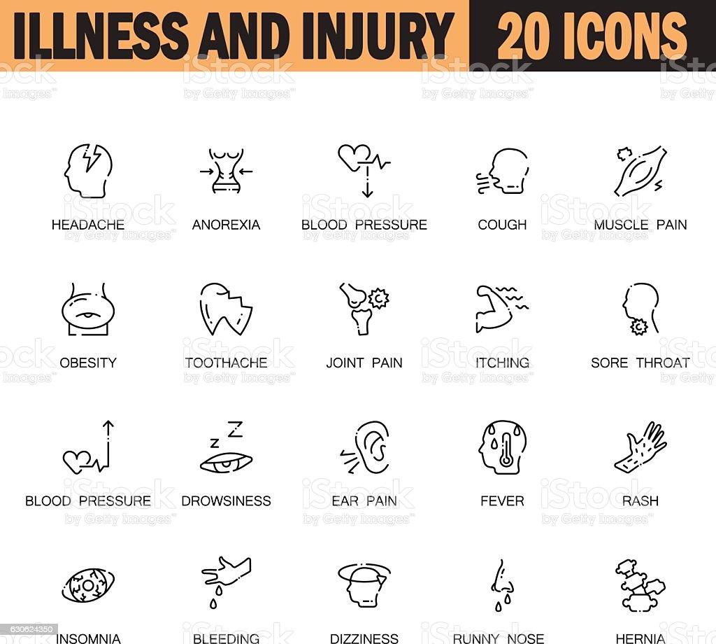 Illness and injury flat icon set. vector art illustration