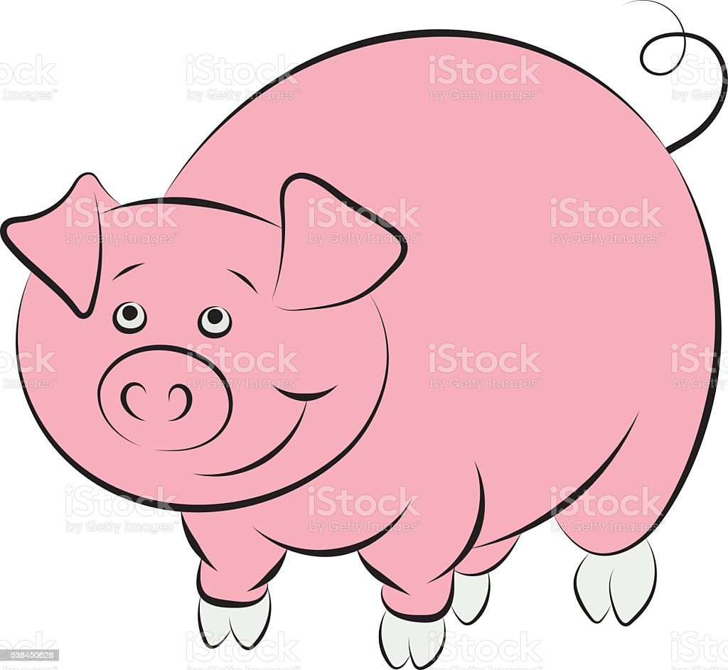 Illstration of the cheerful and smiling pink pig vector art illustration