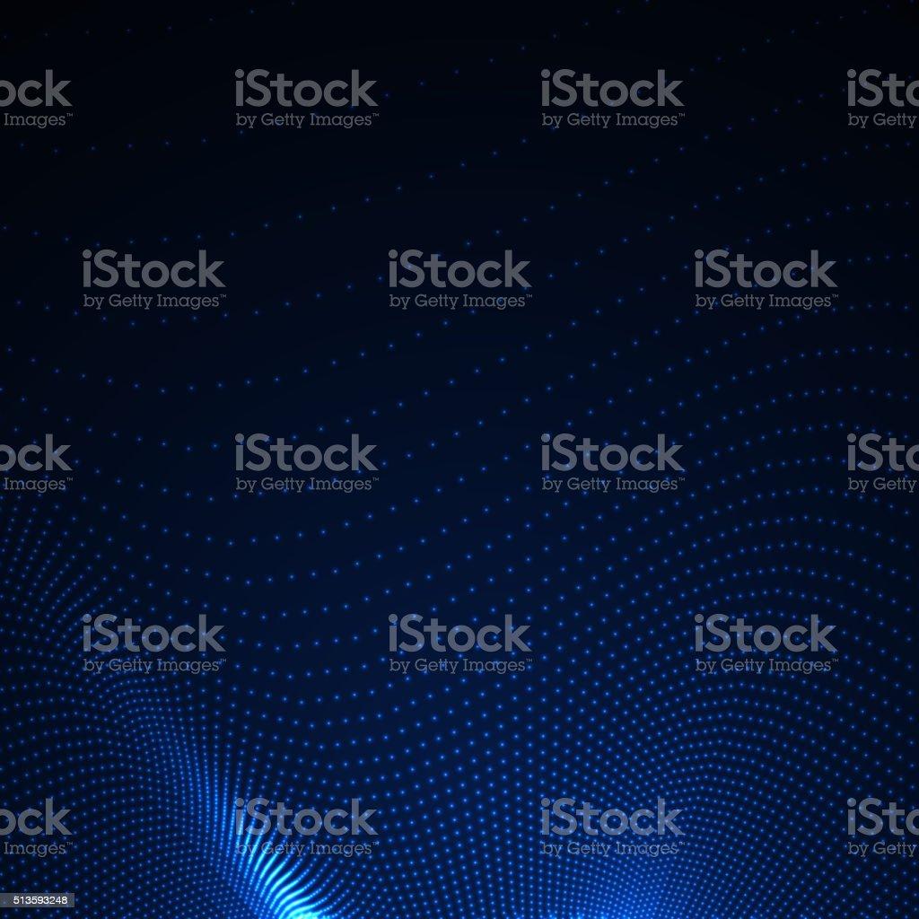 3D illuminated abstract digital wavy background vector art illustration