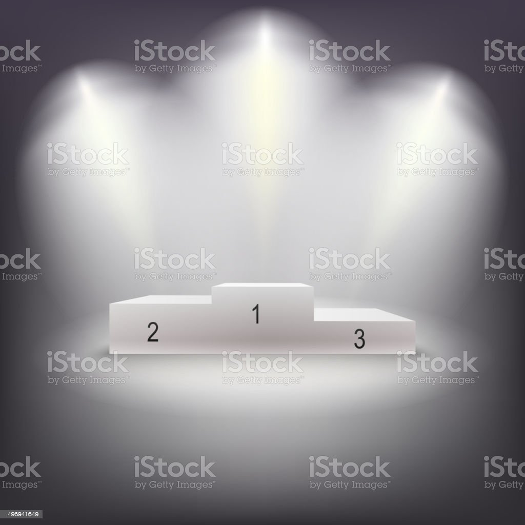 Illuminated business winners podium. vector art illustration