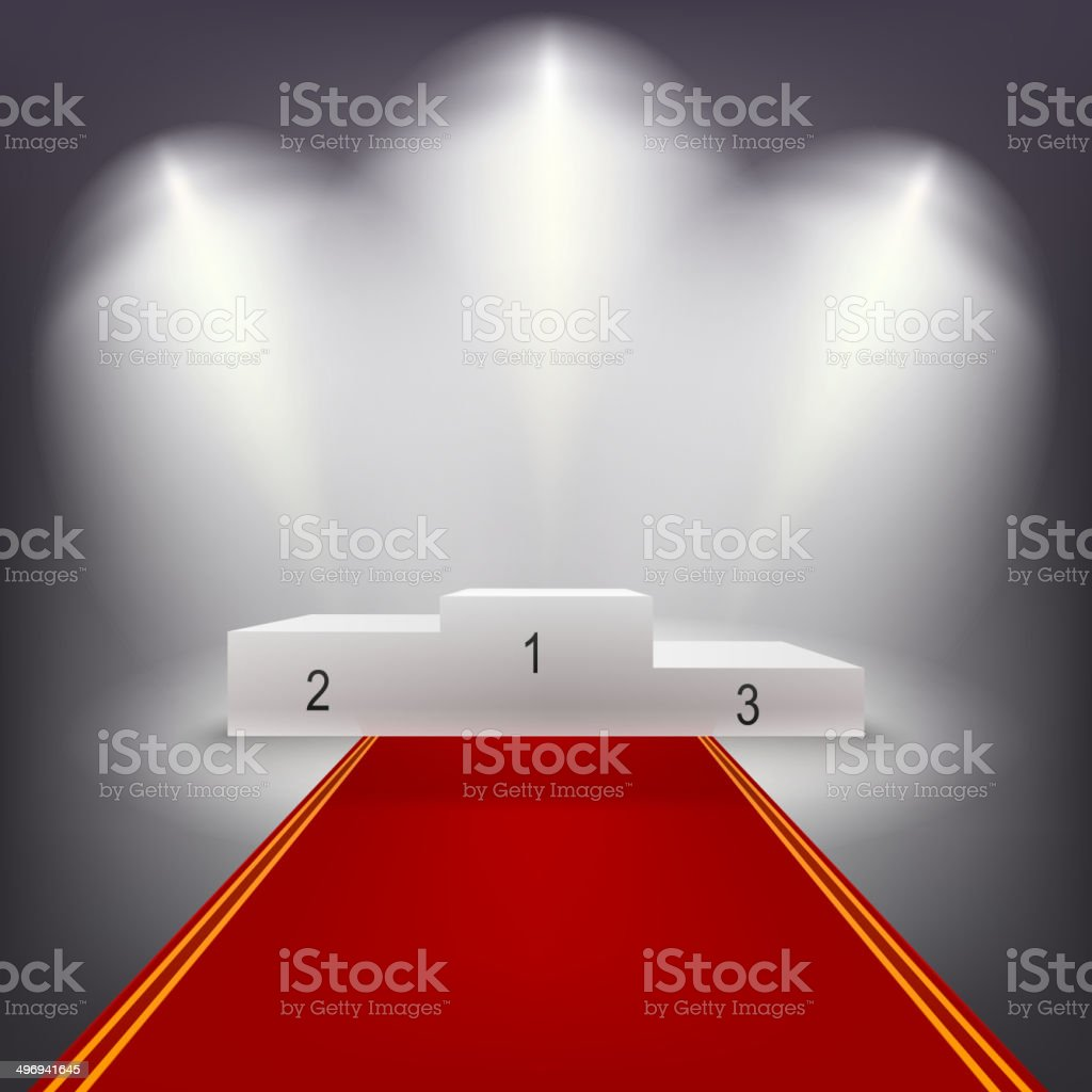 Illuminated business winners podium with red carpet.. vector art illustration