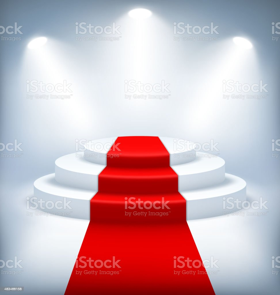 Illuminated Festive Stage Podium on White Background vector art illustration