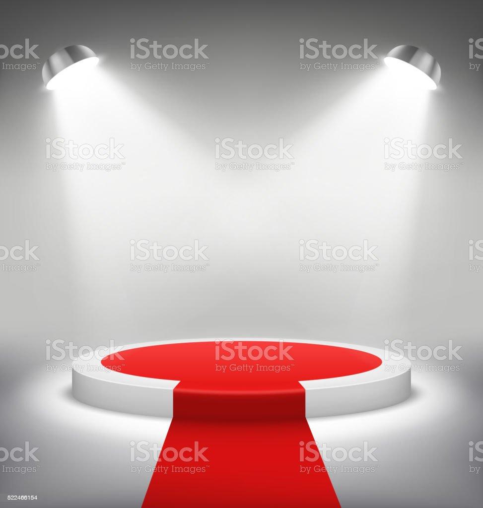 Illuminated Festive Stage Podium Scene with Red Carpet for Award vector art illustration