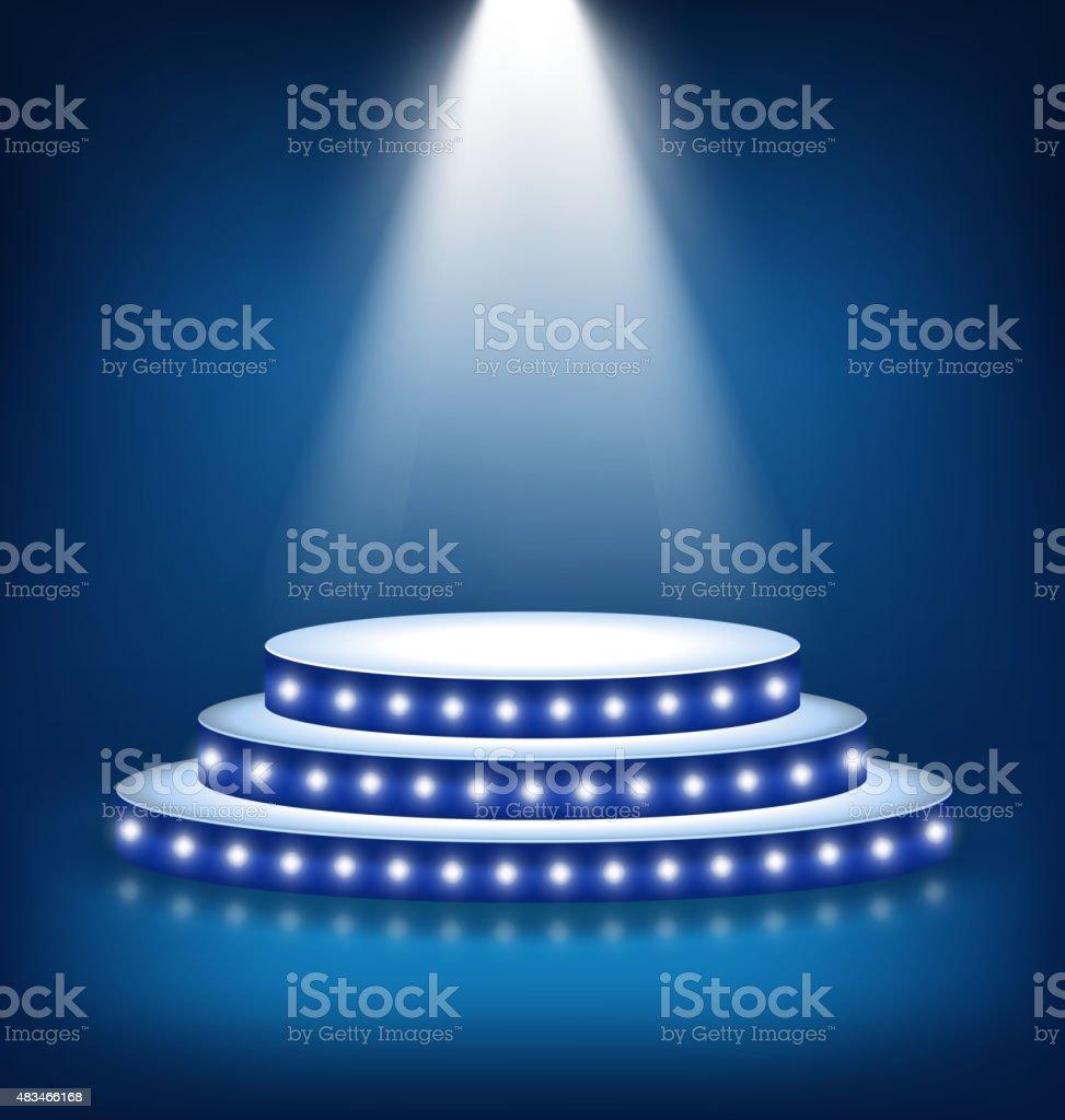 Illuminated Festive Stage Podium with Lamps on Blue vector art illustration
