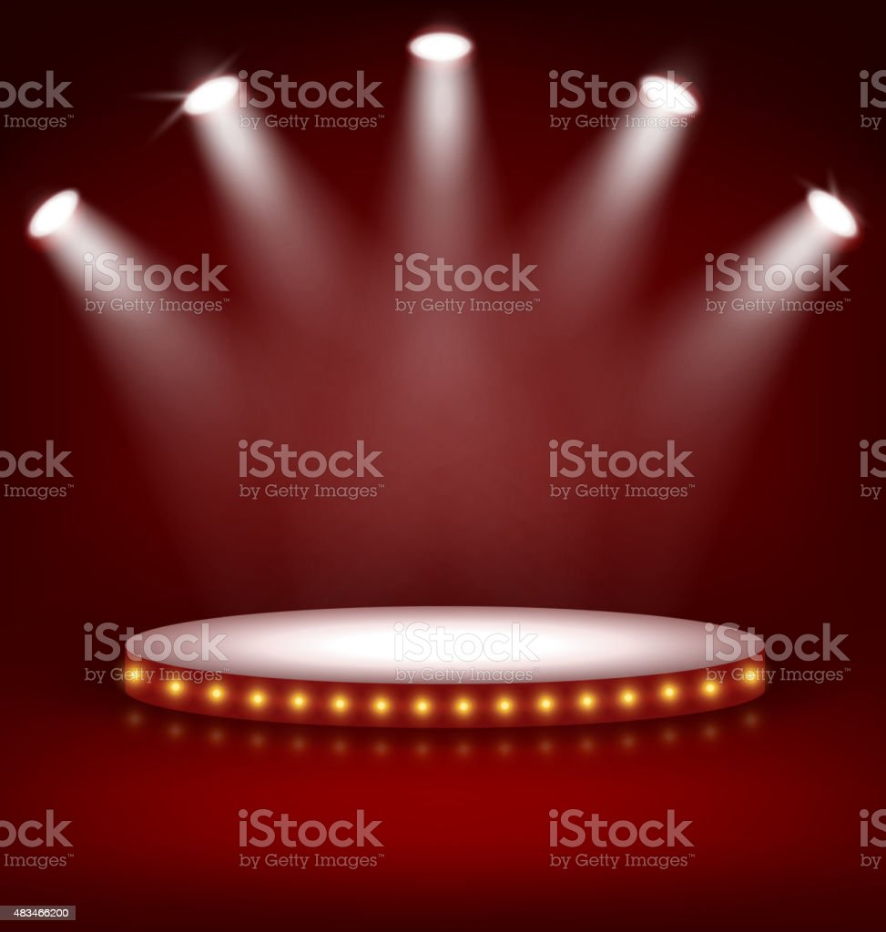 Illuminated Festive Stage Podium with Lamps on Red vector art illustration