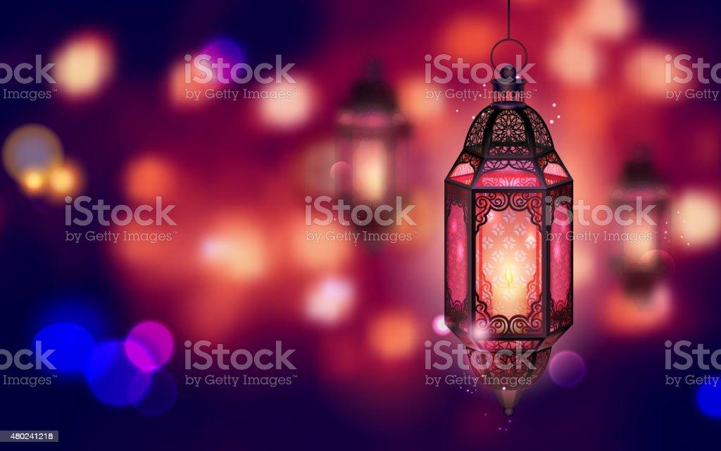 Illuminated lamp on Ramadan Kareem background vector art illustration