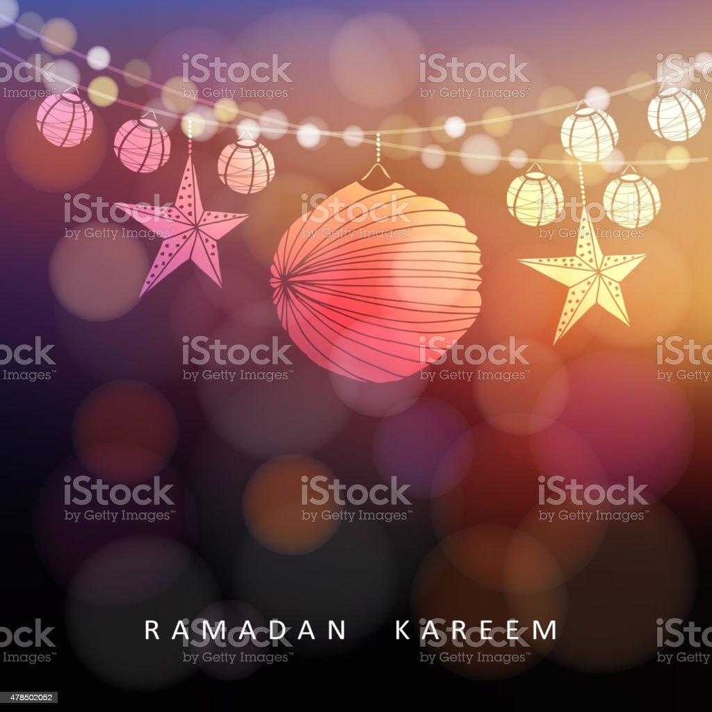 Illuminated paper lanterns and stars with lights, Ramadan vector vector art illustration