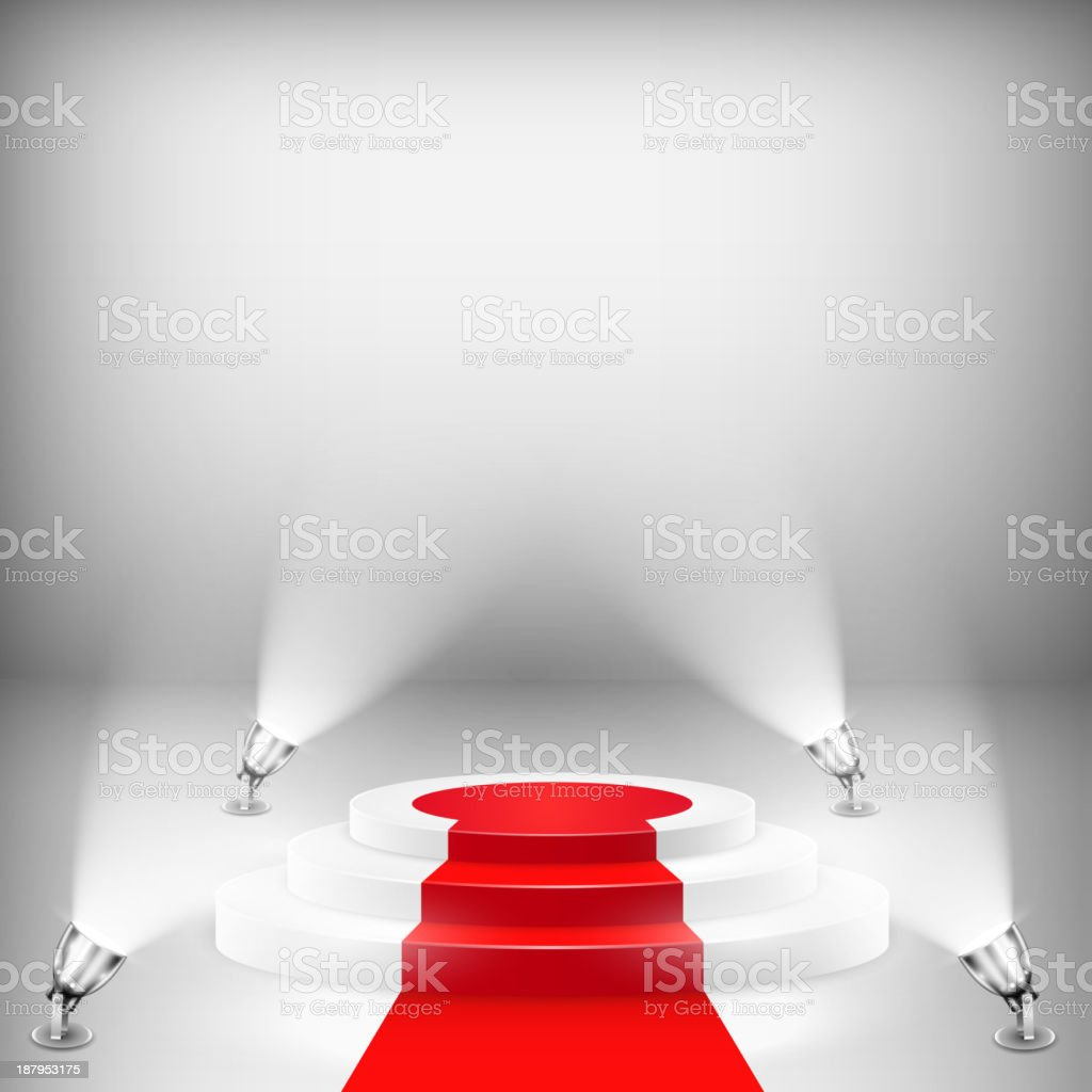 Illuminated Podium With Red Carpet royalty-free stock vector art