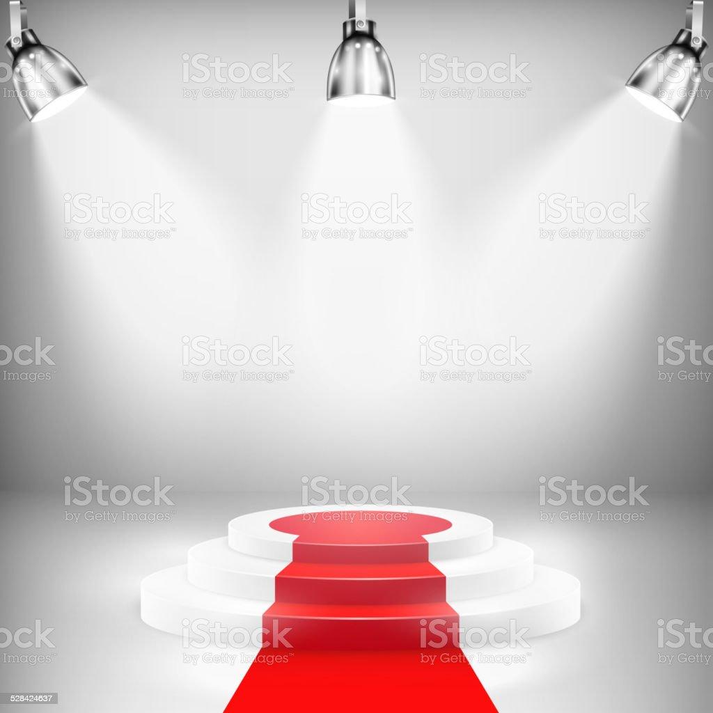 Illumination podium avec tapis rouge stock vecteur libres de ...
