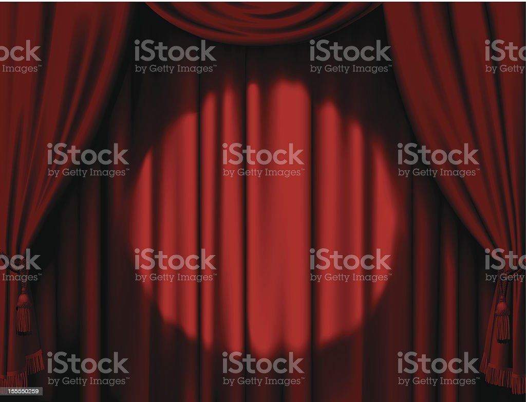 Illuminated red curtain vector art illustration