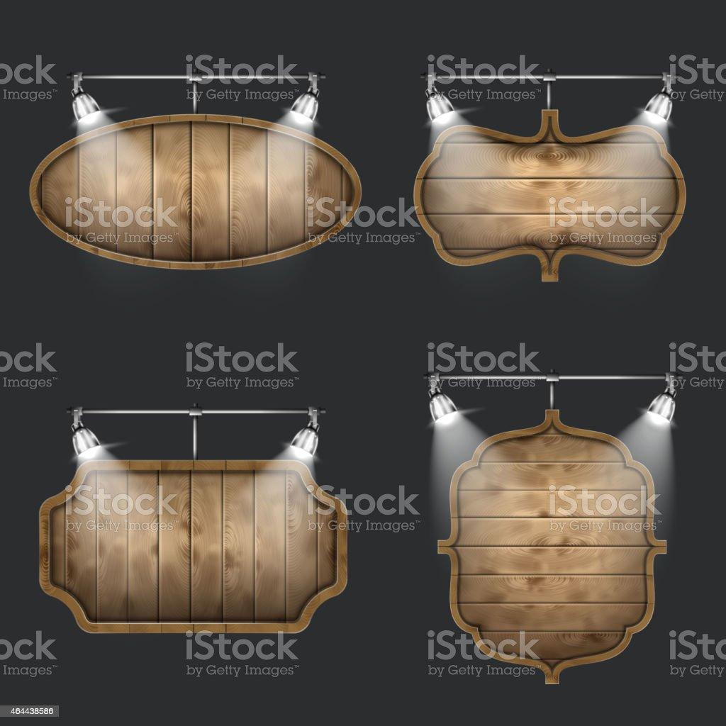 Illuminated Set of Wooden Signboards. vector art illustration
