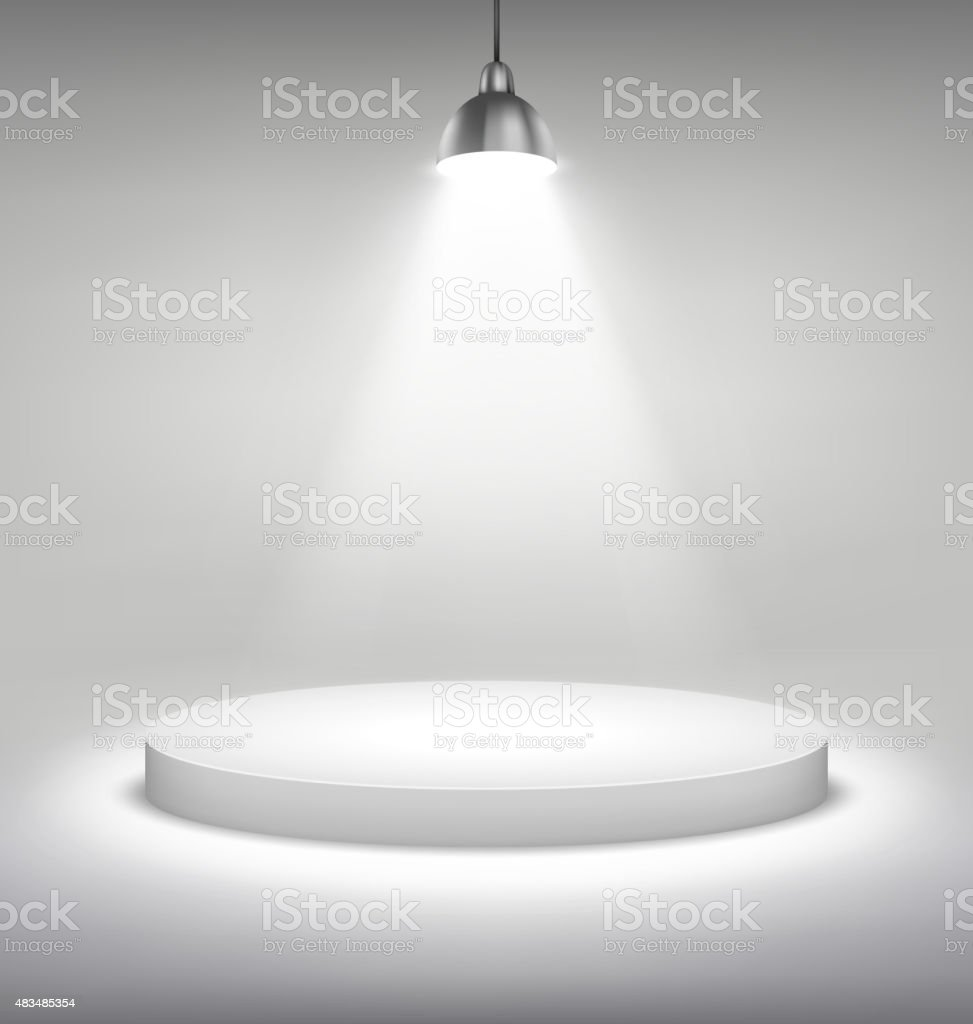 Illuminated White Stand Podium to Place Object Template on Grays vector art illustration