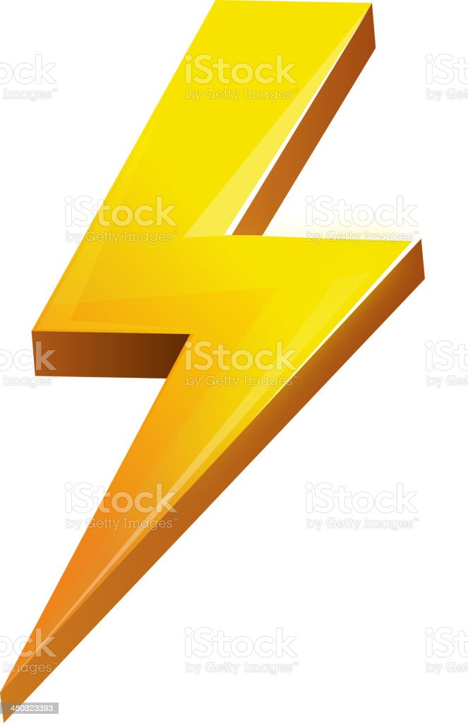 Illustrated 3d lightning bolt on white background royalty-free stock vector art