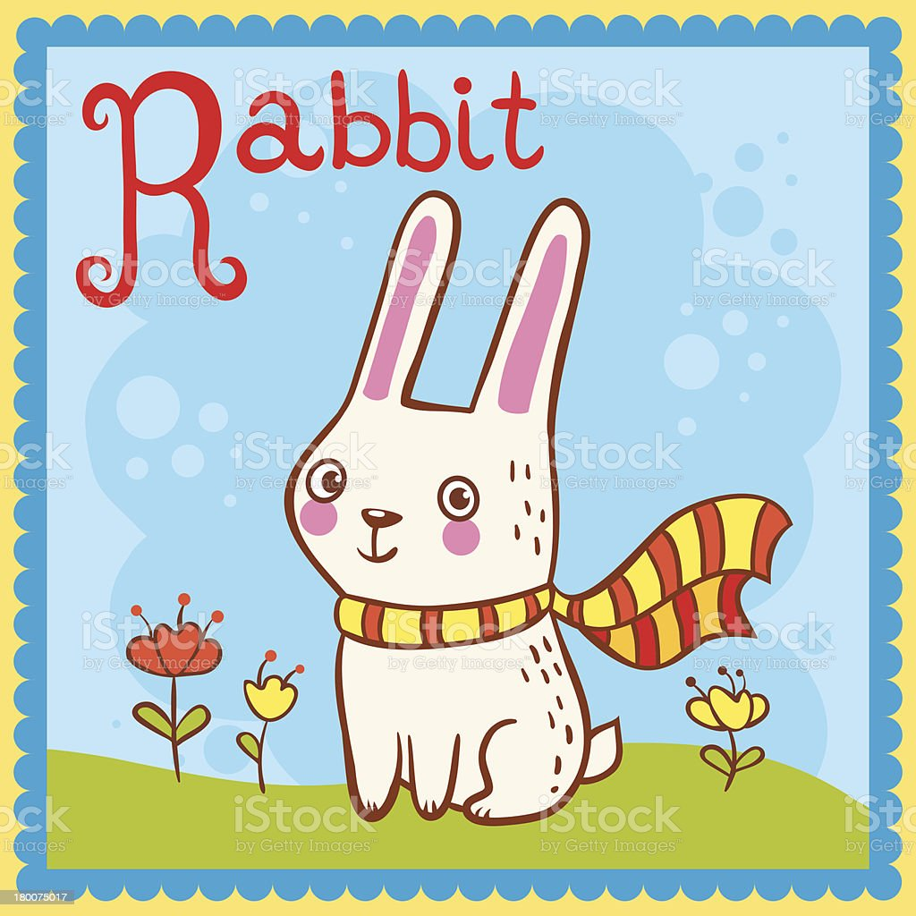 Illustrated alphabet letter R and rabbit. royalty-free stock vector art