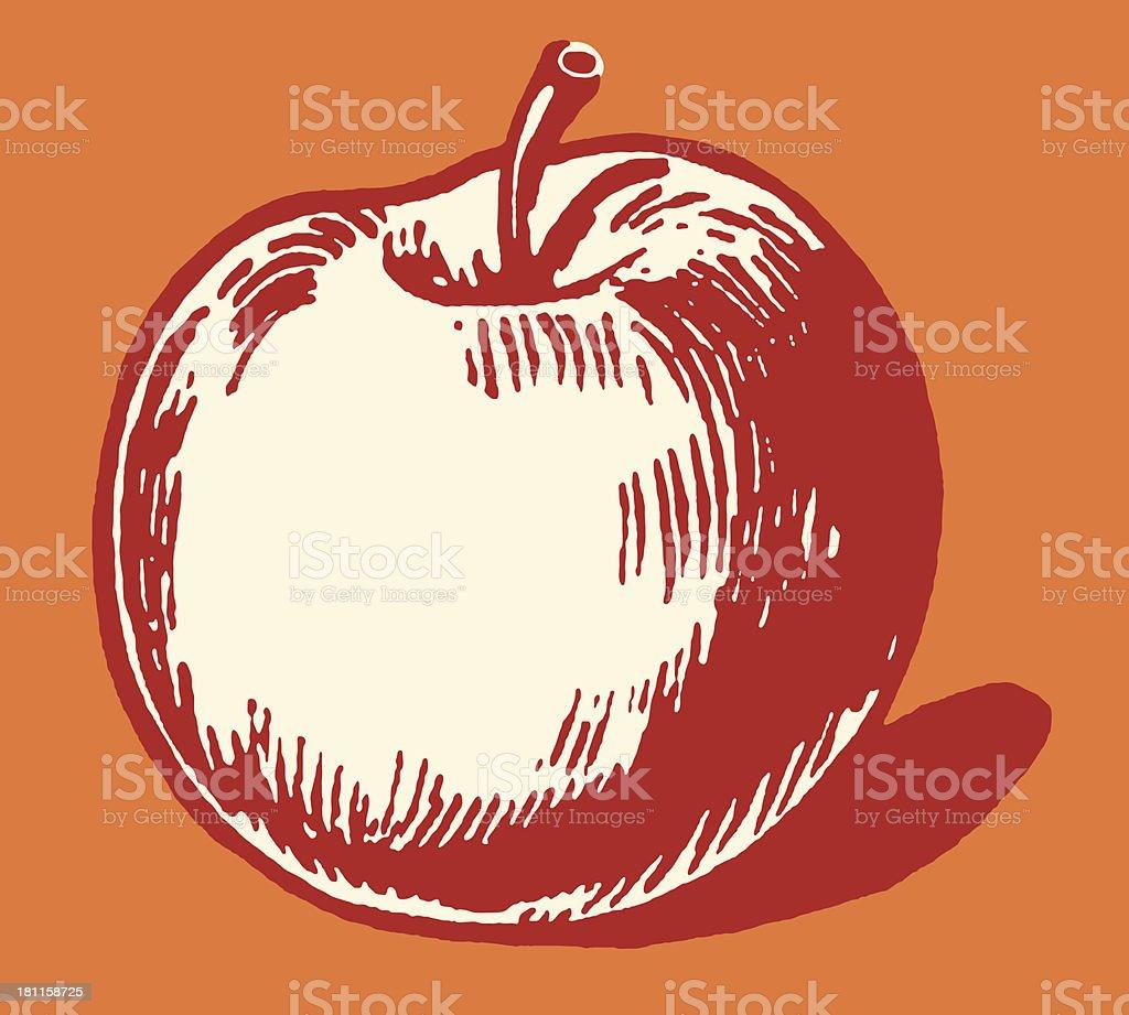 Illustrated apple on red background vector art illustration